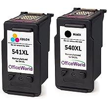 OfficeWorld Remanufacturado PG-540 CL-541 Cartuchos de tinta PG-540XL CL-541XL Compatiable con Canon Pixma MG3150 MX475 MG4250 MG3550 MX395 MG3150 MG3600 (1 Negro, 1 Color)