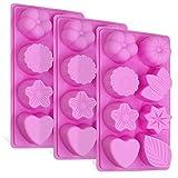 3 Stück Floral Leaf Silikonformen, FineGood 8-Cavity Kuchen Schokolade Pudding Jelly Soap Muffin Schalen für Küche Backen Dekoration - Rosa