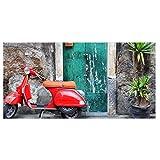 BANJADO Glas Küchenrückwand selbstklebend 60x120cm groß | Spritzschutz Fliesenspiegel mit Motiv Italienischer Roller | Memoboard mit 4 Magneten + Stift | Wandbild beschreibbar ohne Bohren