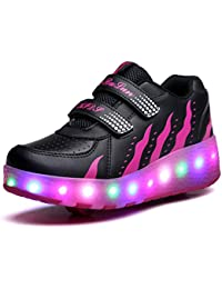 Adulto Niños Niñas LED Zapatillas con Ruedas Deporte Patín Ruedas Luminoso Flying LED con dos Rueda Adulto Intermitente Zapatos con Luces