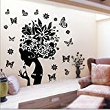 HuaYang Black Flower Fairy Angel Blossom Girl Wall Sticker Room Art Home Wall Paper by HuaYang