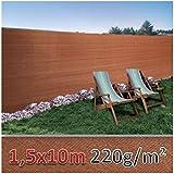 ProBache - Frangivista rinforzato, 1,5 x 10 m, colore: marrone, 220 g/m², luxe pro