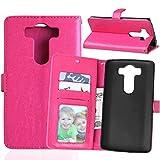 Persönlichkeits-Telefon Für LG V10 Solid Color Premium PU Leder Geldbörse Magnetische Schnalle Design Flip Folio Schutzhülle mit Kartensteckplatz/Ständer (Farbe : Rose, Size : LG V10)