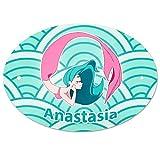 Eurofoto Türschild mit Namen Anastasia und Meerjungfrau-Motiv in Türkis für Mädchen | Kinderzimmer-Schild