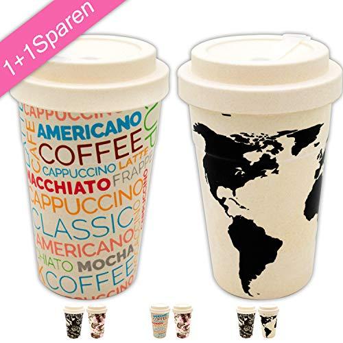 Valere + Coffee to go Bambus-Becher Set 1+1 SPARAKTION | Mehrweg| lebensmittelecht | spülmaschinenfest | Verschluss 1 Becher-set