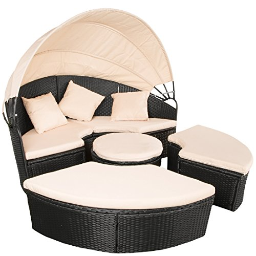 Ultranatura Polyrattan Sonneninsel Palma Serie, Lounge Insel Outdoor, Strandkorb-Lounge in Grau,...