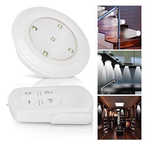 Oramics 6x LED Strahler mit Fernbedienung, Unterbauleuchten für Küche oder Schränke programmierbare Spots für Treppe, batteriebetriebenes Leuchten Set in Weiß