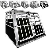LovPet® Alu Hundebox Alubox Hundetransportbox ✓ Transportbox ✓ Reisebox ✓ Haustiere | Stabil | Größe: XXL Doppeltüren + Trennwand | Farbe: Schwarz / Silber