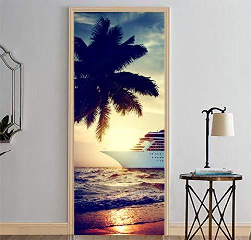 CFLEGEND 3D Tür Aufkleber Plakat von wallpaperBoat in der Nähe des Strandes Vinyl PVC dekorative Innentür Fotohintergrund DIY selbstklebend80x200cm