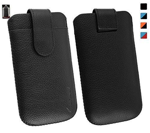 Emartbuy® Genuine Calfskin Leder schwarz Folie in Tasche Case Hülle Sleeve (Größe 3XL) mit CRotit Card Slot & Pull Tab Mechanismus für geeignet Jiayu F1