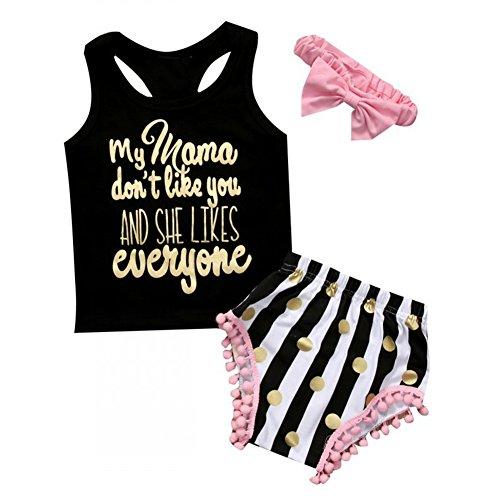 ESHOO kleine Mädchen Brief gedruckt Shirts Tank Top + Polka Dot Shorts + Stirnband (Polka Dot Sunsuit)