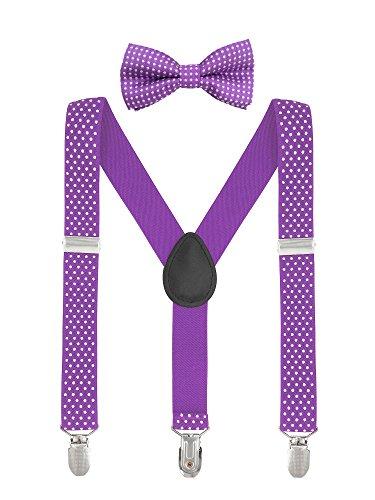 Baby Kinder Hosenträger mit Fliege Punkte Elastisch Gürtel 3 Clips Y-Form Jungen Mädchen Hosen Röcke Tutu Shorts Suspender - Violett (Clip Bow Tie)