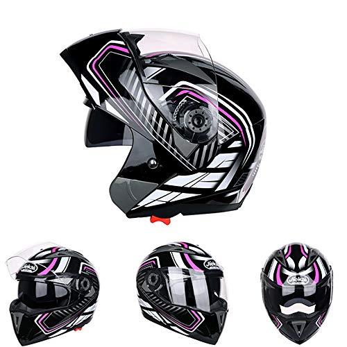 CX ECO MX Motocross Helm Modularer Motorradhelm Flip-Up-Front-Motorradhelm DOT-Zulassung Leichter Old School Open Face Dirt-Fahrradhelm,Purple,M