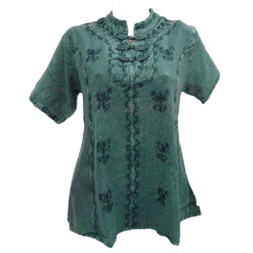 Rayon Haut Col de cou courtes femmes Tunique vêtements d'été robe ethnique Teal vert