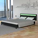Homelux LED Bett Polsterbett Doppelbett Kunstlederbett Bettgestell Bettrahmen 180 x 200 cm Schwarz