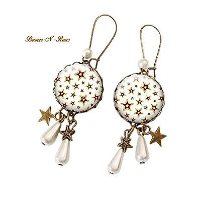Boucles d'oreilles * Stars * cabochon étoiles blanches bronze beige verre