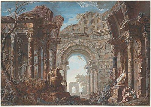 Monumental Arch (The Poster Corp Jean Nicolas Servandoni - Architectural Capriccio with a Monumental Arch Kunstdruck (45,72 x 60,96 cm))