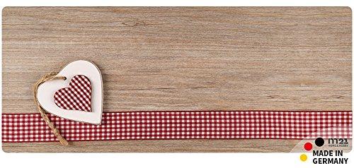 matches21 Küchenläufer Teppichläufer Teppich Läufer Landhaus Herzen auf Holz 50x120x0,4 cm maschinenwaschbar rutschfest Küchenvorleger