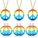 Accessorio per Vestire Stile Hippie Collana Orecchini Include 3 Paia Orecchini di Pace Arcobaleno e 3 Pezzi Collana con Segno di Pace Arcobaleno
