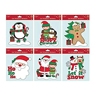 North Pole Set of 6 x Christmas Xmas Square Window Gel Glitter Jelly Stickers Decals Decorations