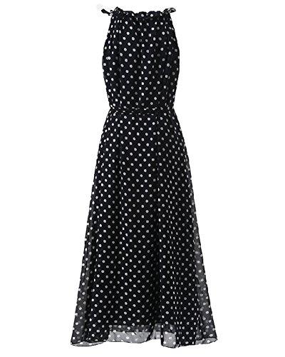 Donna Elegante Vestito Senza Maniche Lungo Abito da Sera Cocktail Abito Maxi Abito Vestito dalla spiaggia con Puntini Nero