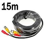 BW 15M / 49.2 Füße BNC Video-Stromkabel für CCTV-Kamera DVR Sicherheitssystem (15M) - Kabeltyp: 0.2mm², Kabel OD: 4.0mm