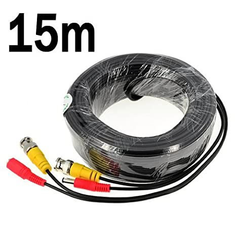 BW® 15M / 49.2 Feet BNC Video Power Cable For CCTV Camera DVR Security System (15M) - Cable type: 0.2mm² , Cable OD: 4.0mm