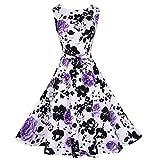 Babyonline Damen Ärmellos Mit Blumen Rockabilly 50er Jahre Vintage Rock Sommer Petticoat Faltenrock Abendkleider