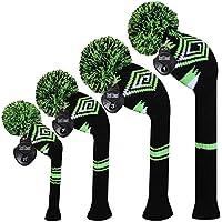 MEILI Gottheit Dunkle Farbe Knit Golf Schlägerhaube Set von 4Für Driver Holz, Fairway Holz * 2und Hybrid, langer Hals, Big Pom Pom, zurückhaltenden Stil