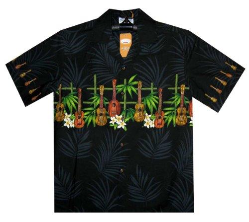 PLA Original Hawaiihemd Gitarre Bambus, Schwarz, L (Bambus Hawaii-shirt)