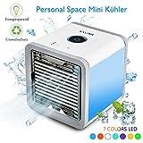 Mobile Klimageräte, Mini Klimaanlage Luftkühler Personal Air Cooler Conditioner mit Luftbefeuchter & Luftreiniger USB Tragbare Klimaanlage Verdunstungskühler