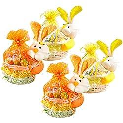 4x Weide Osterkorb mit Häschen zum Befüllen