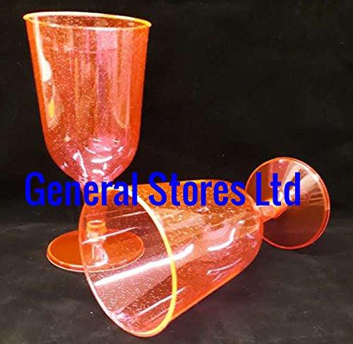 GSL–50x Neon Pink Glitter Kunststoff Einweg Wein Glas Gläser–175ml