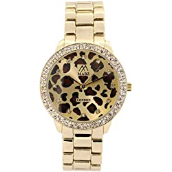 Mabz London Ladies / Womens Leopard Print Gold Dial & Gold Bracelet Watch