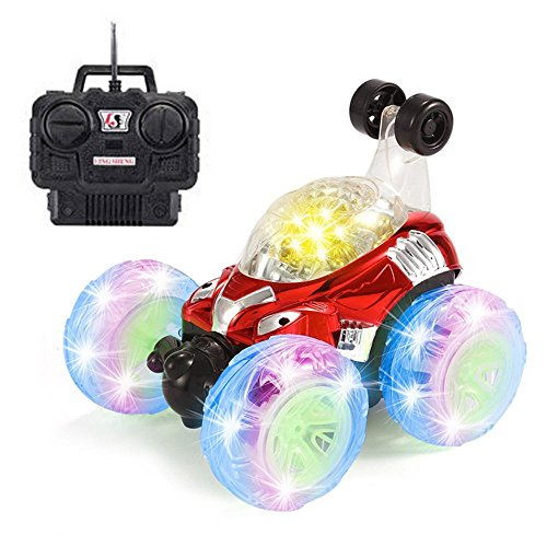 RC Stunt Auto, Invincible Tornado Twister Fernbedienung Truck, 360Grad Spinning und Flips mit LED Licht und Musik für Kinder Jungen Mädchen Festival Geschenke, rot