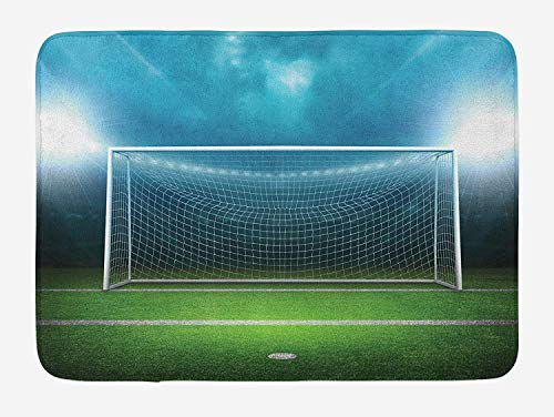 Soccer Bath Mat, Soccer Goal Post Sports Area Winner Loser Line Floodlit Best Team Finals Game Theme, Plush Bathroom Decor Mat with Non Slip Backing, Green Blue,15.7X23.6 inch/40 * 60cm