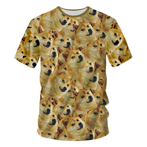 Tier T-Shirts Männer 3D Full Print Hund Meme T-Shirt Männliche Hip Hop Streetwear Kurzarm Rundhals T-Shirts Harajuku Animal Dog Meme S