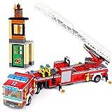 02086 Bausteine Feuerwehrauto Feuerwehr Leiterwagen, 421 teiliges Konstruktionsspielzeug