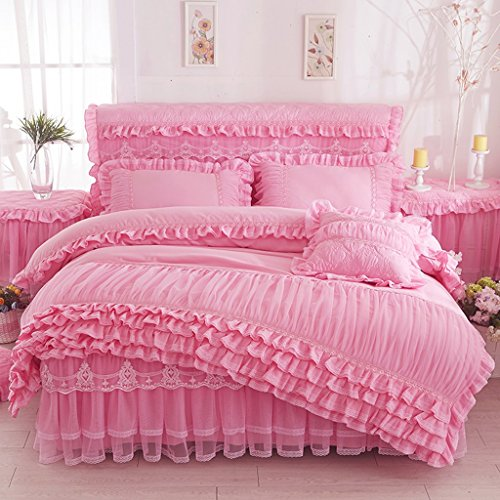 Bettwäsche-Sets Rosa Spitze Mädchen Queen Bett Set mit Bettbezug Blätter Kissenbezüge Voller Größe 4 Pcs (Größe : Queen)
