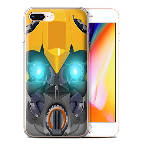 Stuff4 Gel TPU Hülle / Case für Apple iPhone 8 Plus / Mega-Bot Blau Muster / Roboter Kollektion Bumble-Bot Gelb