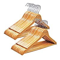 Qualsen hangers - Wooden Coat Hangers Natural Finished Suit Hangers With Shoulder Notches and 360° Swivel Hooks for coats, pants, suits,shirts (Pack of 10)