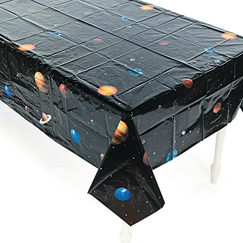 Weltraum Planeten Tischdecke aus PVC Tischdeko Kindergeburtstag Mottoparty Deko mit Palandi® Sticker