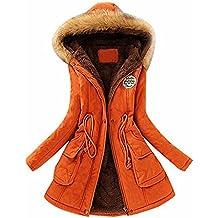 AKABELA Chaqueta de mujeres Abrigo largo caliente Cuello de piel con capucha Chaqueta Parka de invierno Desgastar