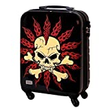 Hartschalen Koffer TSA Handgepäck 30 Liter Schwarz Weiß Skull Totenkopf 817
