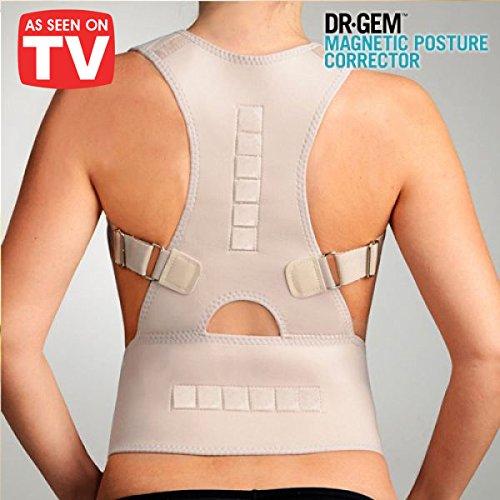L'originale Dr.Gem Magnetic Posture Corrector - Il tutore brevettato per la correzione della postura di schiena e spalle! supporto posturale per correggere combattere il dolore cervicale, dolori lombari, la schiena inarcata e dolori muscolari fascia busto correttiva terapeutica reggispalle correttivo dynamic royal correttore lombare correggi subito la postura della tua schiena - alza allinea il collo e la colonna vertebrale! Supporta e sostiene! Unisex da uomo e donna - Taglia M