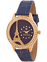 Swiss Grand SG12724 Golden Diamonds Coloured With Blue Synthetic Leather Strap Quartz Watch For Women