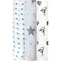 linenaffairs Swaddle Wrap for Born Organic Muslin Cotton Blankets Soft Wrapping (Star, Polka Blue and Grey Monkey, Pack…