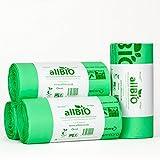 40 Litri x 100 sacchetti allBIO Sacchetti Pattumiera Organico 100% Biodegradabili e Compostabili 40 Litri/Sacchetti Contenitore Rifiuti