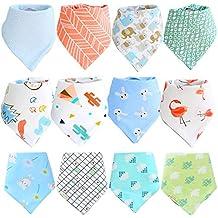 Cotton Coming baberos bebe bandana nino nina 8 pack set Absorbente bandanas bebe ninos,Algod/ón babero bandana 1-3 A/ños Suave baberos triangulo bebe