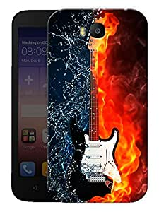 """Humor Gang Burning Guitar Printed Designer Mobile Back Cover For """"Huawei Honor Bee"""" (3D, Matte Finish, Premium Quality, Protective Snap On Slim Hard Phone Case, Multi Color)"""